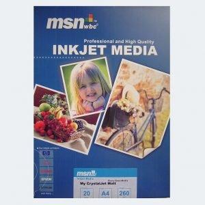 کاغذ چاپ عکس ام اس ان دبلیو بی سی مدل مات ۲۰ برگ ۲۹.۷× ۲۱.۰ س م ۲۶۰ گرم.